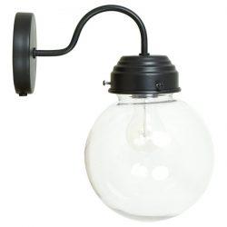 Wandlampe schwarz mit Glaskugel