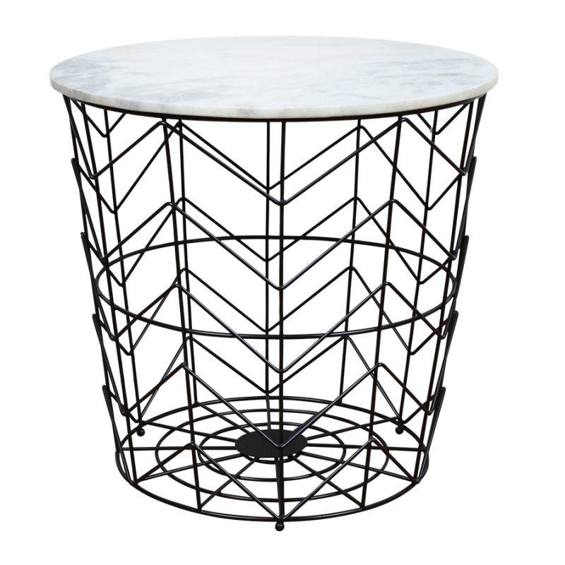 schwarzer tisch mit wei er marmorplatte popshop skandinavische einrichtung. Black Bedroom Furniture Sets. Home Design Ideas