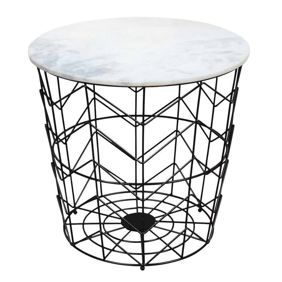 Schwarzer tisch mit wei er marmorplatte popshop for Kleiner schwarzer tisch