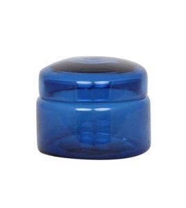 große glasdose blau