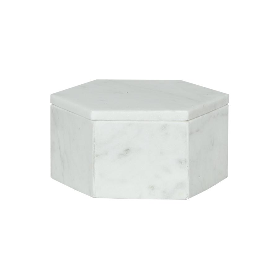weiße Marmorbox sechseckig