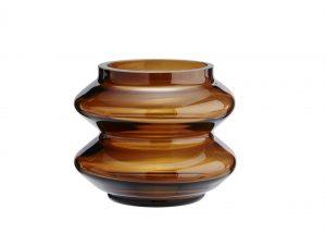 gelbrötliche Vase aus Glas