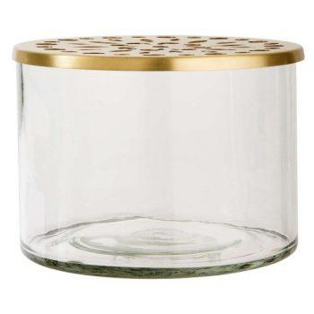 Vase mit Messingaufsatz breit