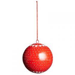 Weihnachtskugel rot-weiß