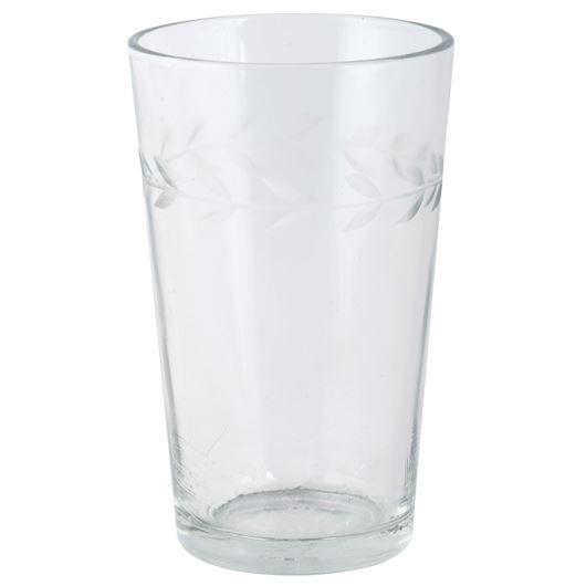 Glas mit Blattkante