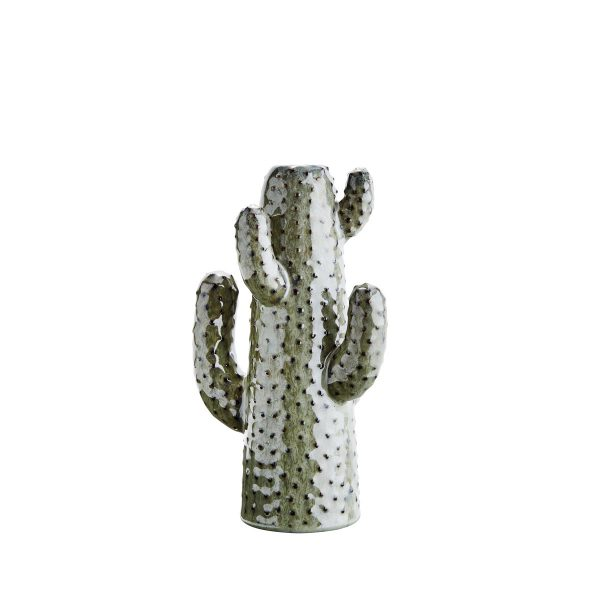 Kaktus Vase aus Steingut, in hellem Grün. Sie ist ca. 20 cm hoch.