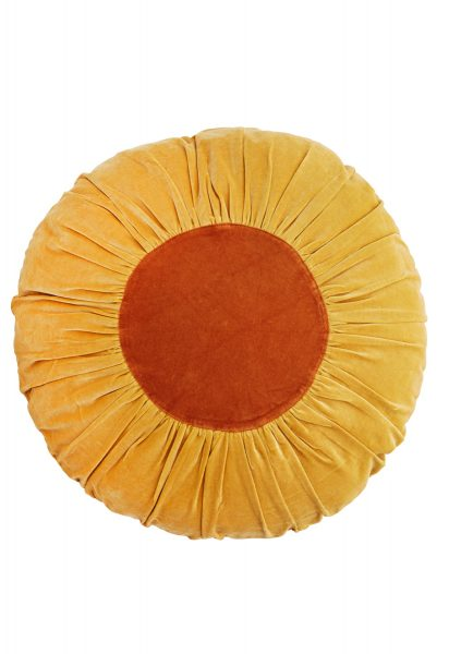 Rundes Samtkissen gelb, Innenfläche orange.