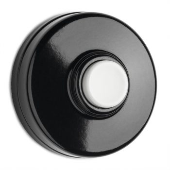 klingeltaster bakelit schwarz mit weissem taster