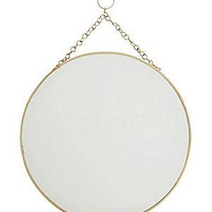 Runder Spiegel m Kette: Dieser Spiegel hat einen Durchmesser von ca. 30 cm und lässt sich mit Hilfe der goldenen Kette sehr einfach aufhängen.