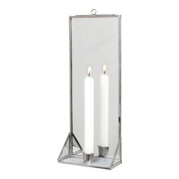 Spiegel mit Kerzenhalter silber