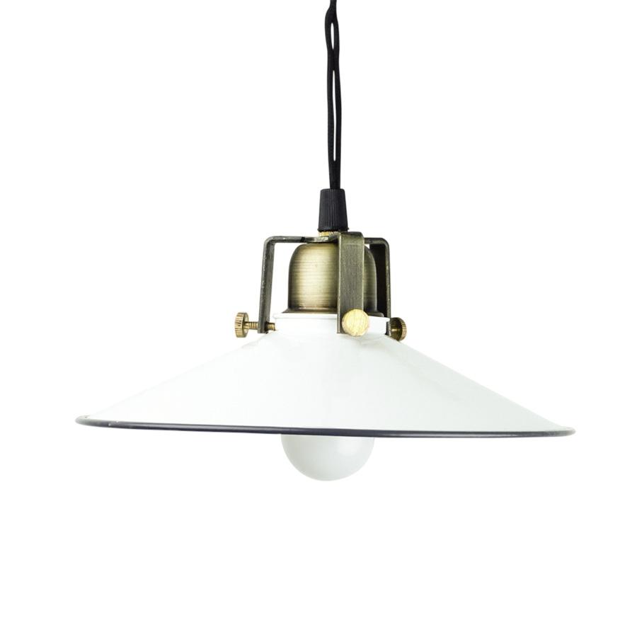 Emaille Lampe mit Messingfassung